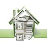 Huis met dollars Royalty-vrije Stock Afbeeldingen