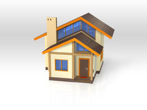 Huis met ecologische architectuur - Vooraanzicht Royalty-vrije Stock Foto's