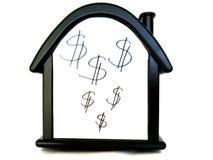 Huis met een dollarteken Verkoop van onbeweeglijkheid, huis stock foto