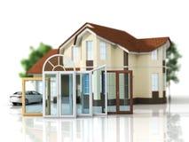 Huis met een keus van vensters Stock Afbeeldingen
