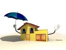 Huis met een paraplu Stock Afbeelding