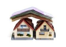 Huis met Euro bankbiljetten Stock Fotografie