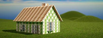 Huis met Euro bankbiljetten wordt gebouwd dat Vector Illustratie