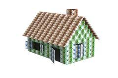 Huis met Euro bankbiljetten wordt gebouwd dat Royalty-vrije Stock Foto's