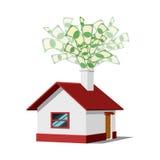 Huis met geld vectorillustratie Stock Fotografie