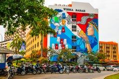 Huis met graffiti Kota Kinabalu, Sabah, Maleisië Royalty-vrije Stock Afbeelding