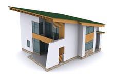 Huis met groen dak Stock Fotografie