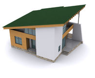 Huis met groen dak Stock Afbeeldingen