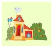 Huis met grote vensters Royalty-vrije Stock Afbeelding