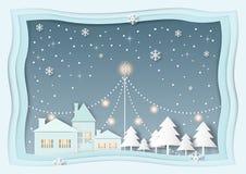 Huis met Kerstboom, sneeuw, sneeuwvlok bij nacht Royalty-vrije Stock Foto's