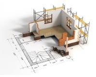 Huis met open binnenland bovenop blauwdrukken stock illustratie