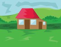 Huis met Red Roof in het Hout Royalty-vrije Stock Afbeelding