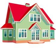 Huis met rood dak Royalty-vrije Stock Afbeeldingen