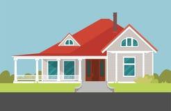 Huis met rood dak herenhuis vector illustratie