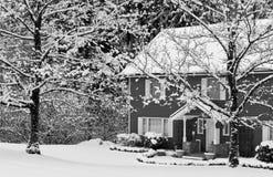 Huis met sneeuw en bomen in de winter Royalty-vrije Stock Afbeelding
