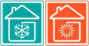 Huis met sneeuwvlok en zon. huis veredelingsmiddel sym Stock Afbeeldingen