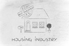 Huis met 5 sterren schatten & Beste Investeringsteken, die indust huisvesten Royalty-vrije Stock Afbeelding