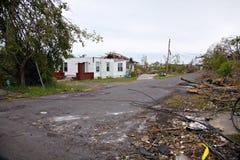 Huis met tornadoschade Royalty-vrije Stock Fotografie