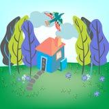 Huis met vogel Stock Afbeelding