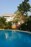 Huis met Zwembad Royalty-vrije Stock Foto's