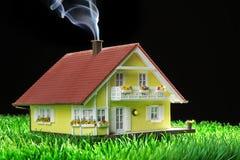 Huis miniatur met tuin Stock Foto