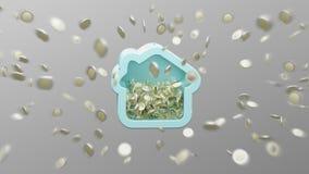 Huis moneybox met muntstuk het omringen overal op een 3d achtergrond Stock Fotografie