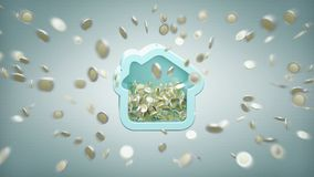 Huis moneybox met muntstuk het omringen overal op een 3d achtergrond Royalty-vrije Stock Afbeeldingen