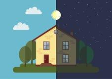 Huis in nacht en dag Stock Afbeelding