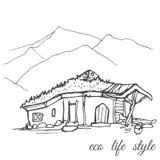 Huis onder aard met gras op het dak in de stijl van de schets Royalty-vrije Stock Foto