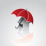 Huis onder paraplu Stock Afbeeldingen