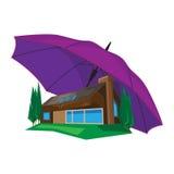 Huis onder paraplu Stock Afbeelding