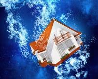 Huis onder water Royalty-vrije Stock Foto's