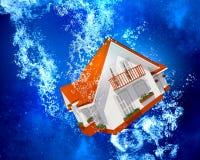 Huis onder water Stock Afbeeldingen