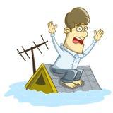 Huis onder water wordt overstroomd dat Royalty-vrije Stock Foto's