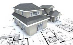 Huis op architectenplannen Royalty-vrije Stock Foto