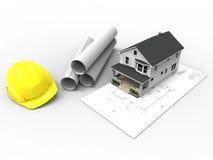 Huis op architecturale tekening met gerolde korte pagina's en bouwvakker Stock Afbeelding