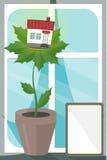 Huis op bladeren Royalty-vrije Stock Afbeelding