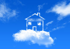 Huis op de hemel stock illustratie