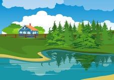 Huis op de rand van vijver vector illustratie