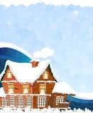 Huis op een blauwe achtergrond Stock Foto
