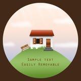 Huis op een heuvel in een cirkelkader Royalty-vrije Stock Foto