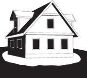 Huis op een heuvel. Vector. Royalty-vrije Stock Foto's