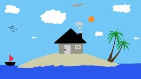 Huis op een klein eiland Stock Foto