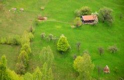 Huis op een mooie de lenteheuvel Stock Afbeeldingen