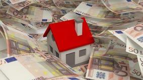 Huis op Euro bankbiljetten van 50 wordt geplaatst die Royalty-vrije Stock Afbeelding