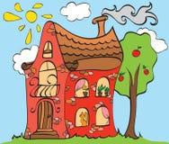 Huis op gazon royalty-vrije illustratie