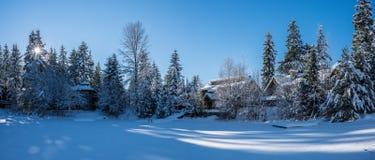 Huis op het Bevroren meer Stock Foto