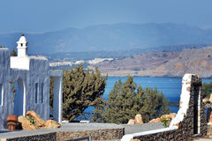 Huis op het eilandstrand van Rhodos Stock Foto's