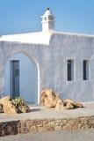 Huis op het eilandstrand van Rhodos Stock Afbeeldingen