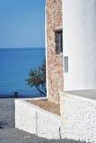 Huis op het eilandstrand van Rhodos Stock Foto